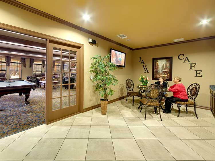 The Java Cafe and lounge at The Meridian at Kessler Park.