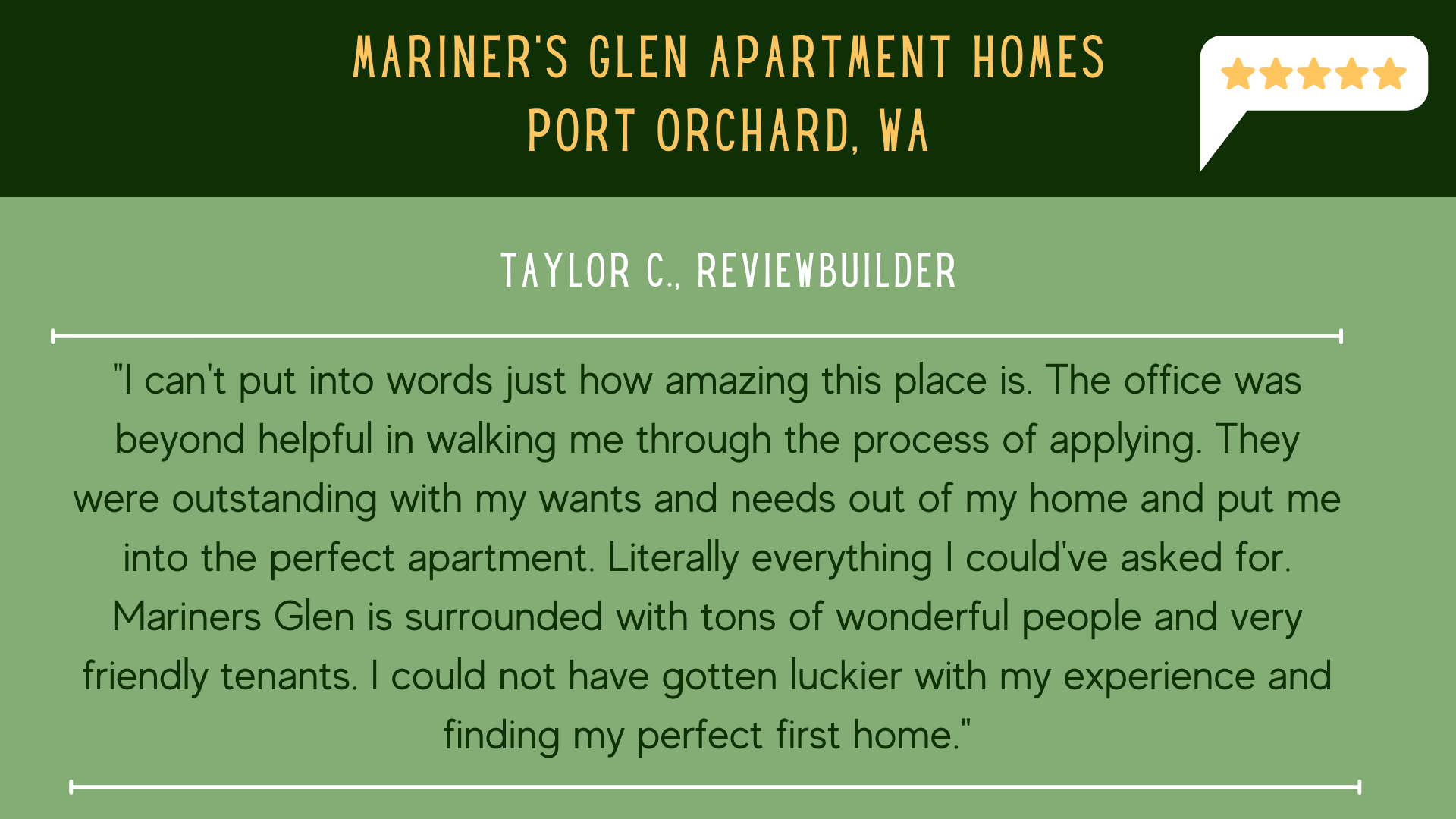 Mariners Glen 5 Star Review