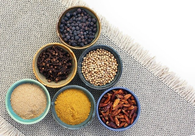 overhead shot of spices