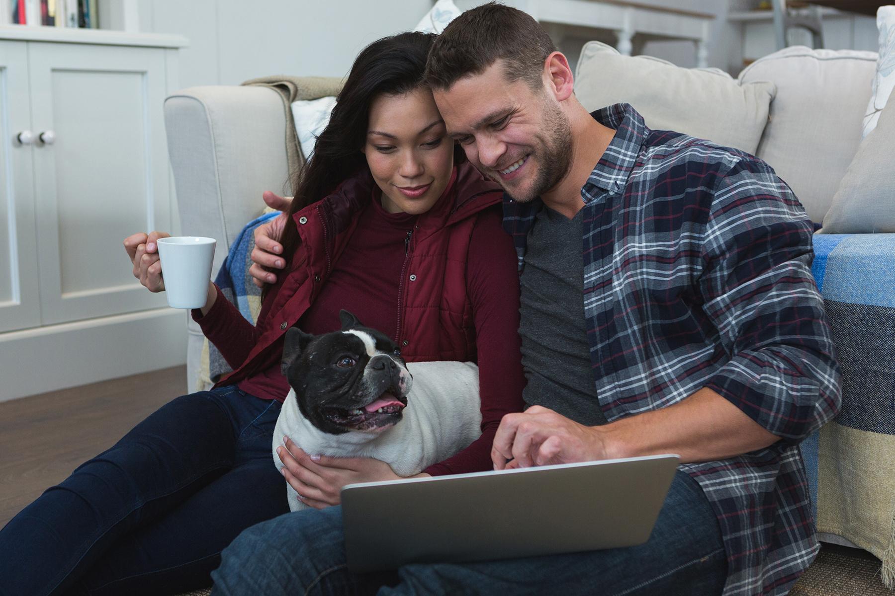 couple using laptop with dog