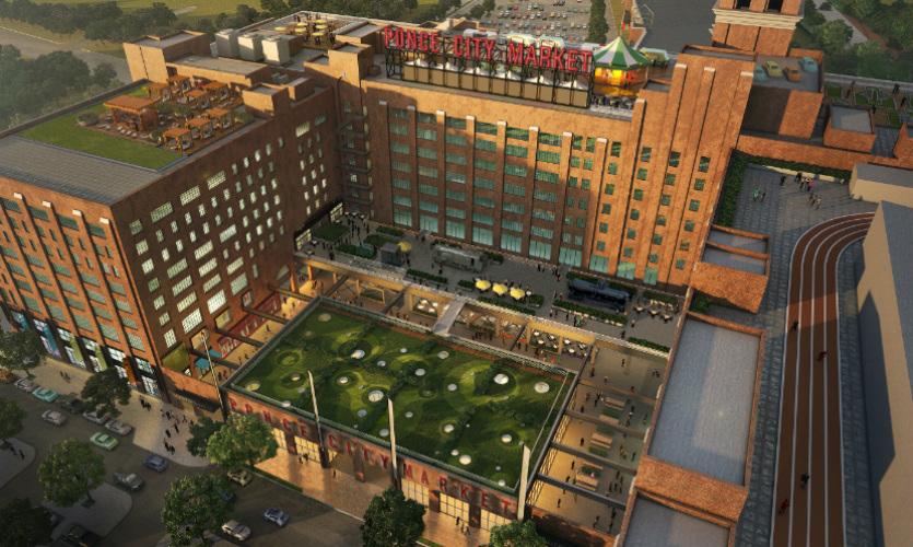 Aerial View of Exterior of Ponce City Market Building, near The Kirkwood Apartments, Atlanta, GA