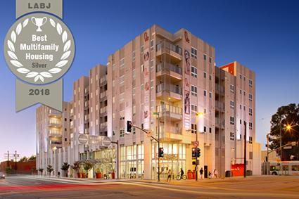 Best Multifamily Housing 2018 award with exterior building view