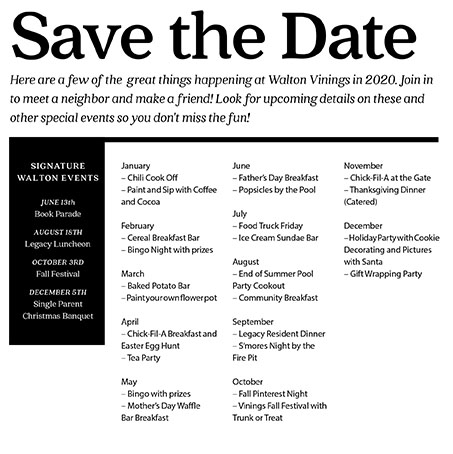 Walton Vinings 2020 Events