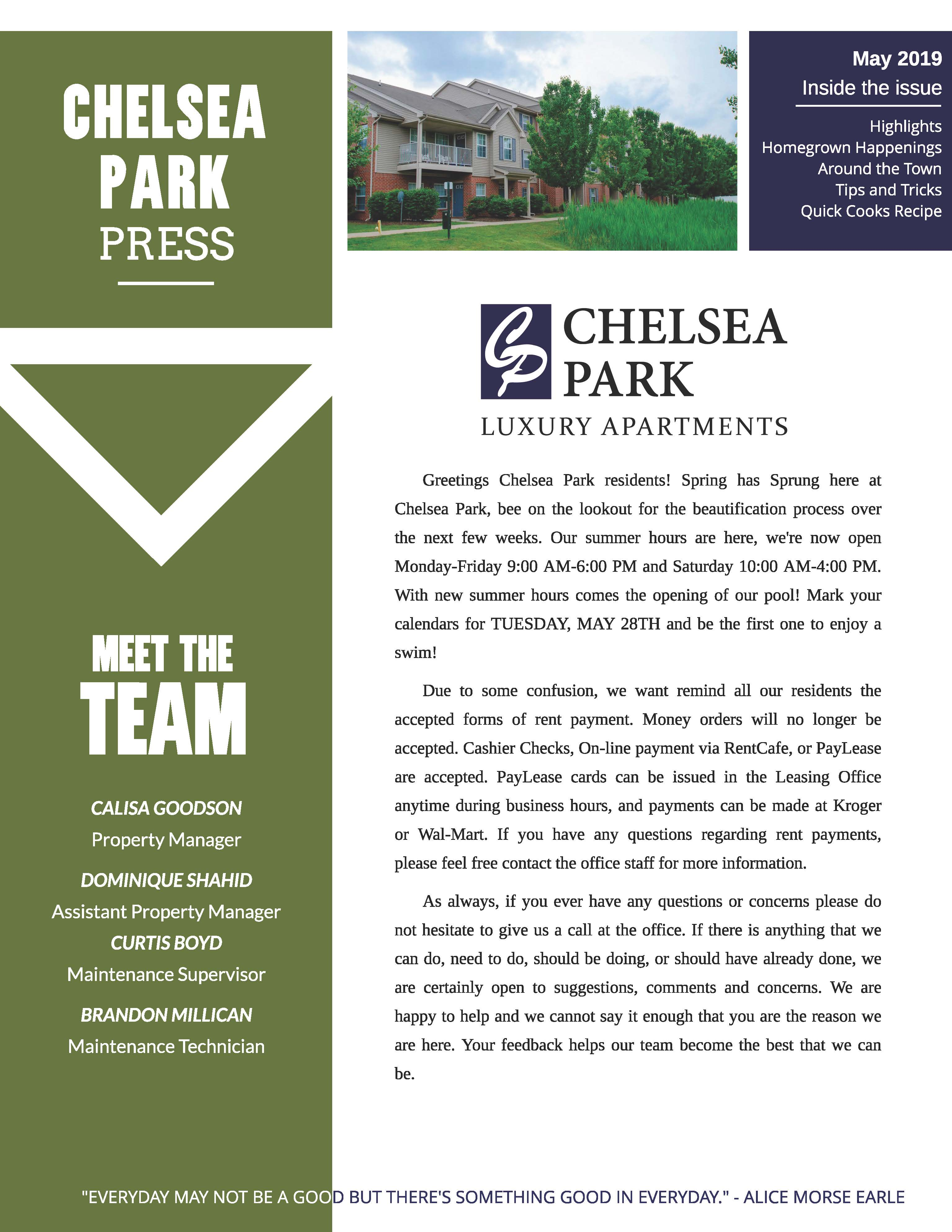 May 2019 Newsletter The Chelsea Park Press
