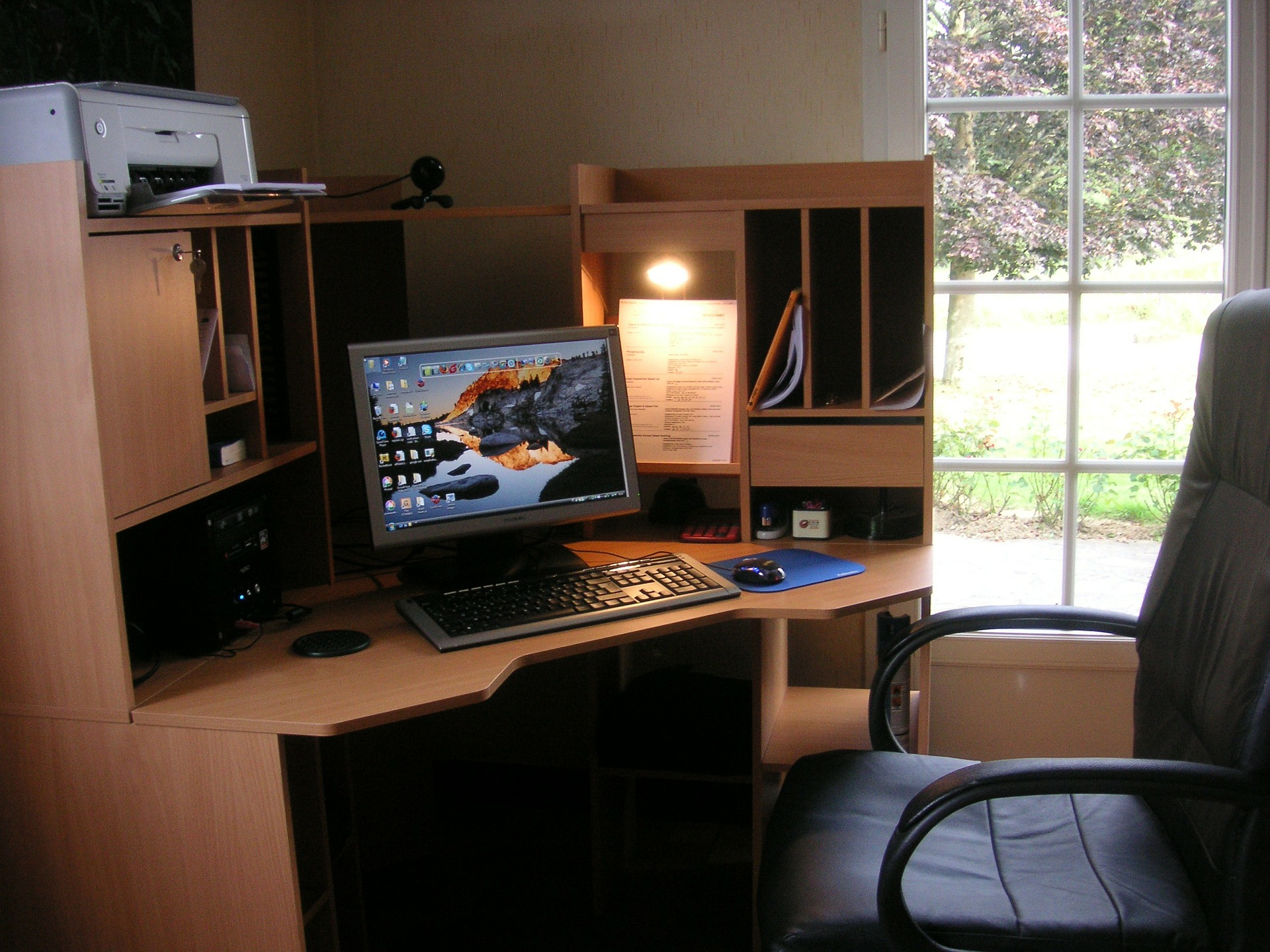 computer workstation in an apartment