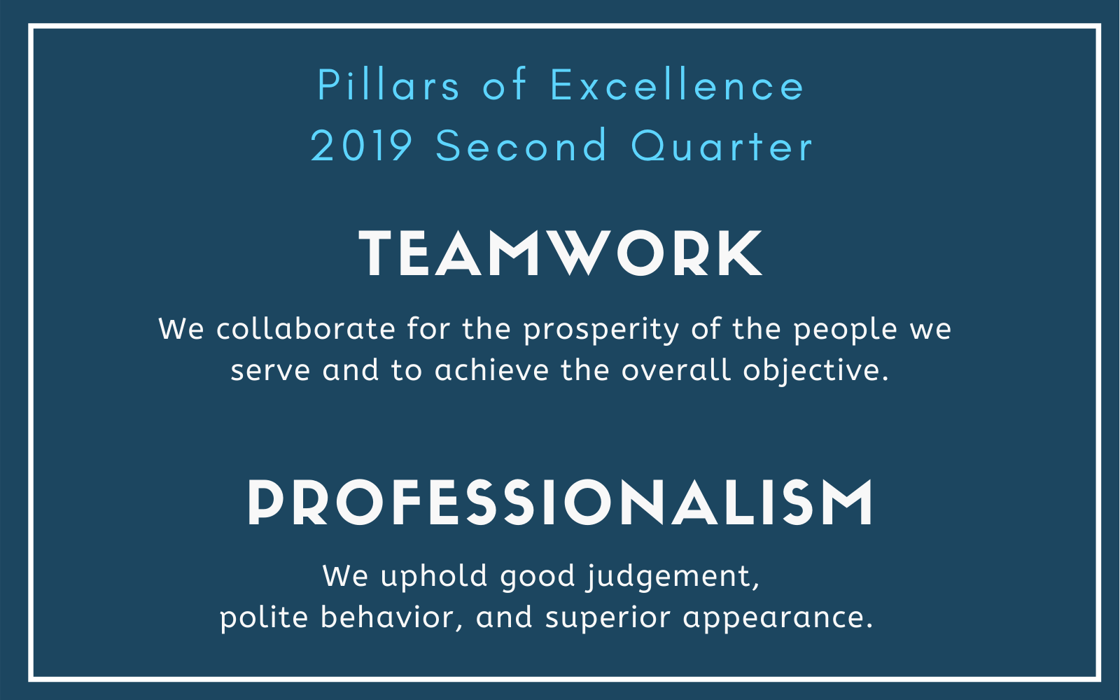 NALS Pillars of Excellence Second Quarter