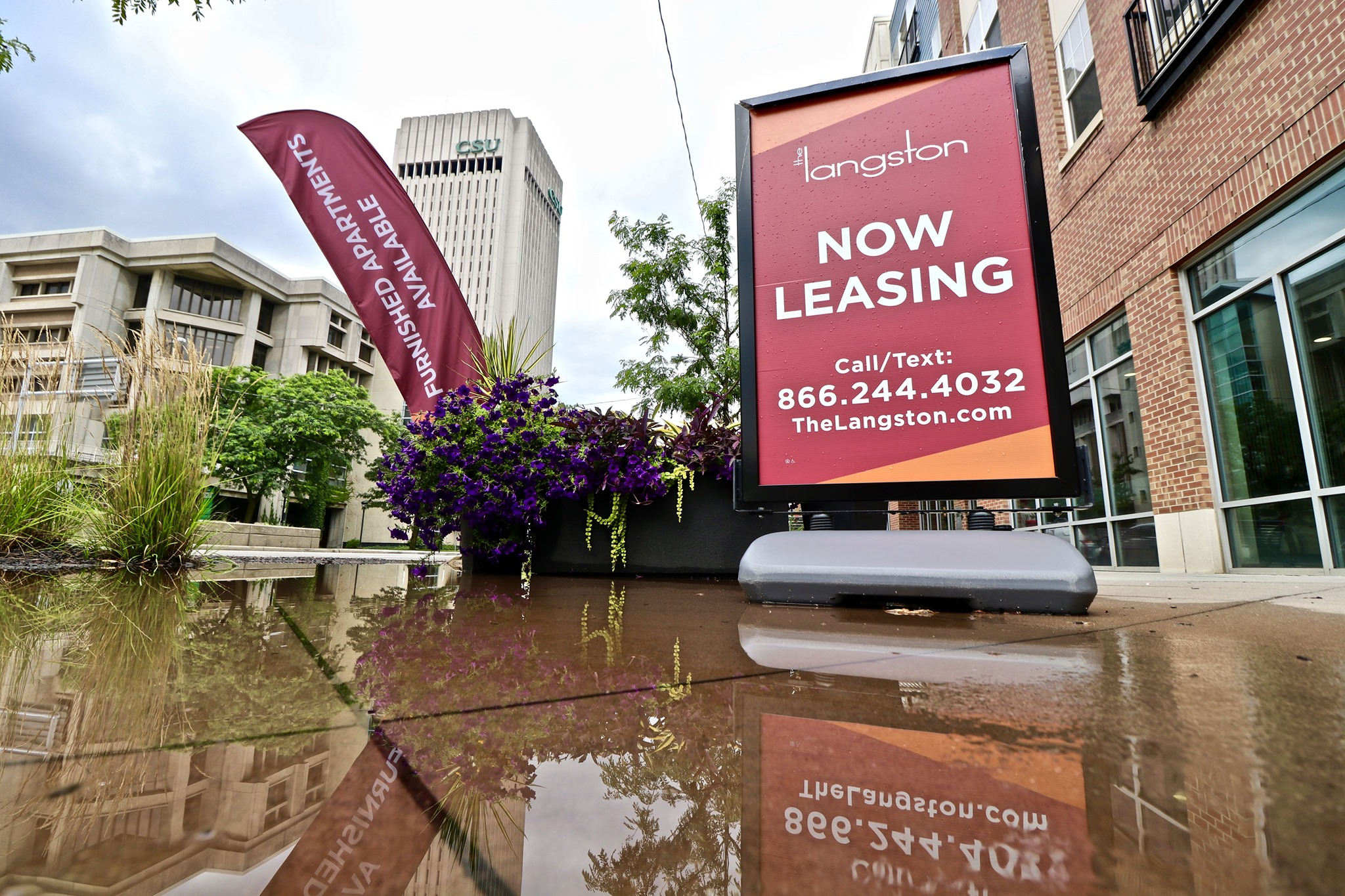 Leasing signage at The Langston Apartments, 2303 Chester Avenue, Cleveland
