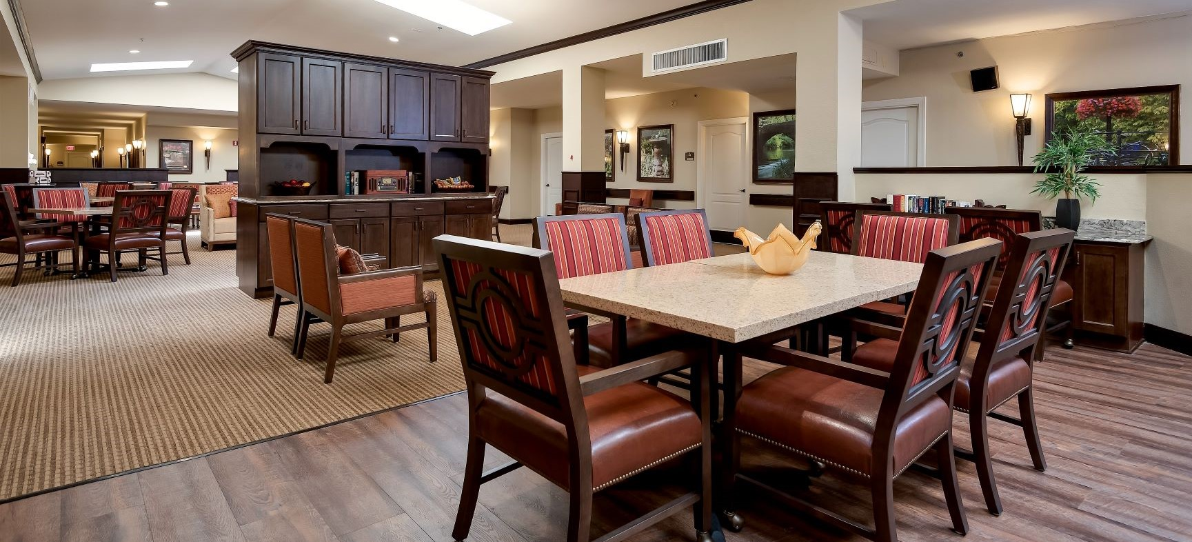 Our lovely group dining room at Pacifica Senior Living Ocala.