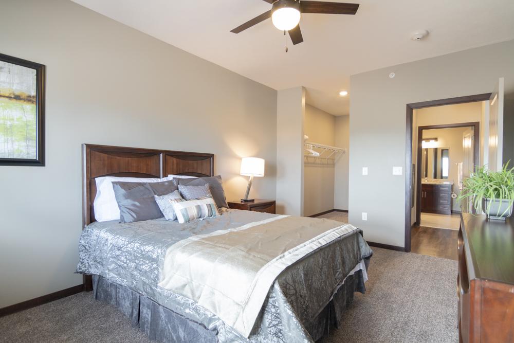 Furnished bedroom at 360 at Jordan West in West Des Moines IA 50266