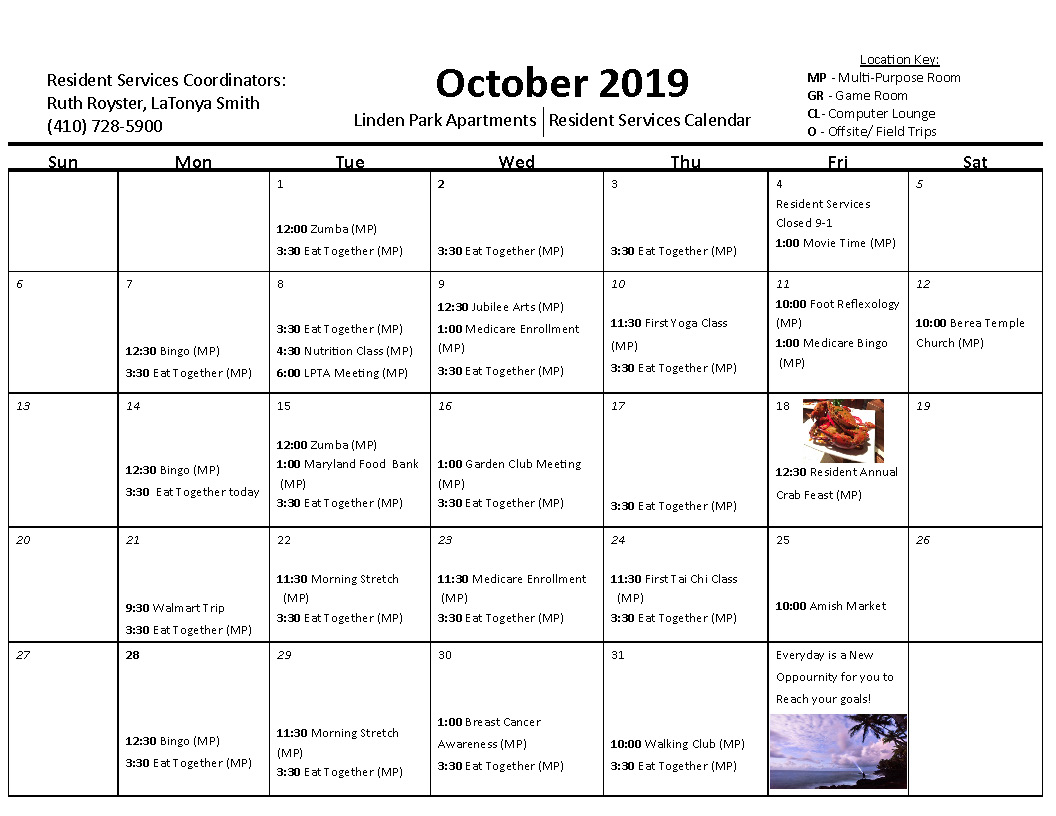 Linden Park October 2019 Calendar