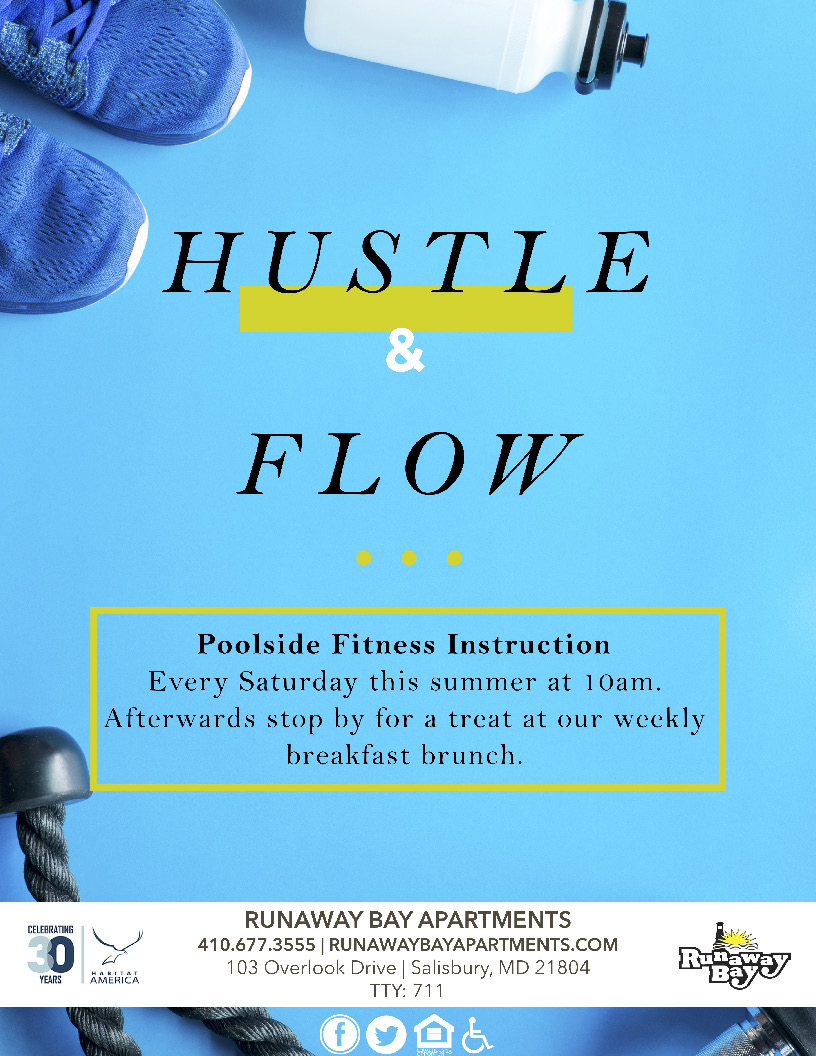 Hustle and Flow Poolside Fitness Instruction every Saturday at 10am
