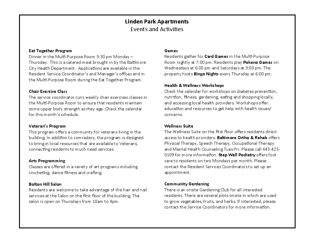 Linden Park February 2020 Activity Calendar page 2