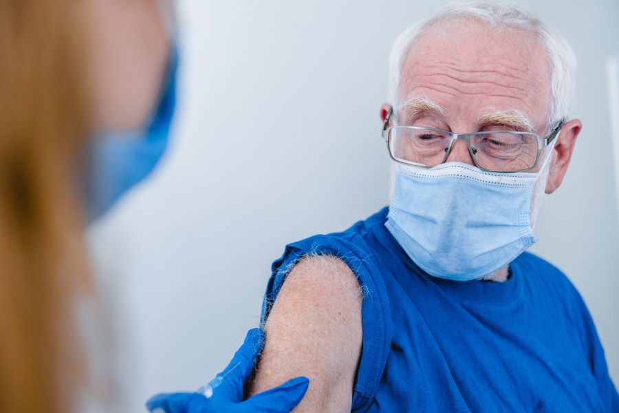 Pacifica Resident getting COVID-19 Vaccine