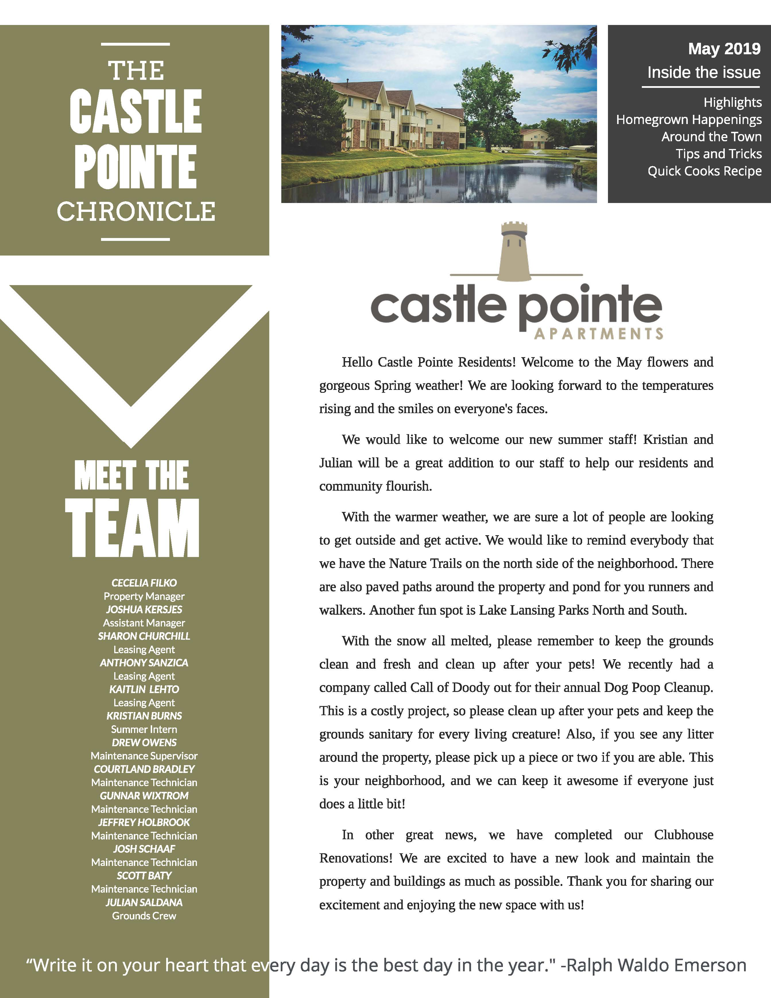 May 2019 Newsletter The Castle Pointe Chronicle