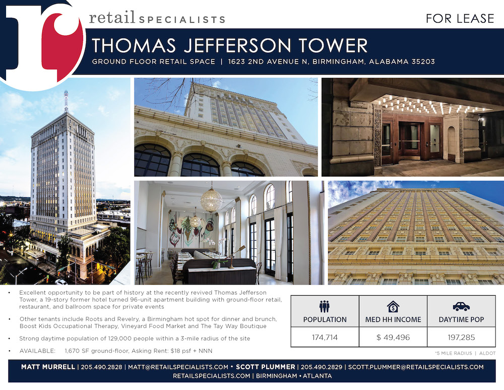 Thomas Jefferson Tower commercial real estate in downtown birmingham, al