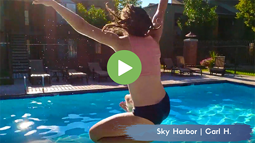 Jumping in the Pool at Sky Harbor Apartments