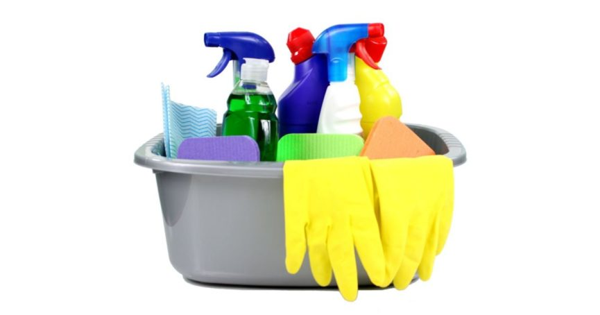 Spring Cleaning Supplies Sprays and Bucket