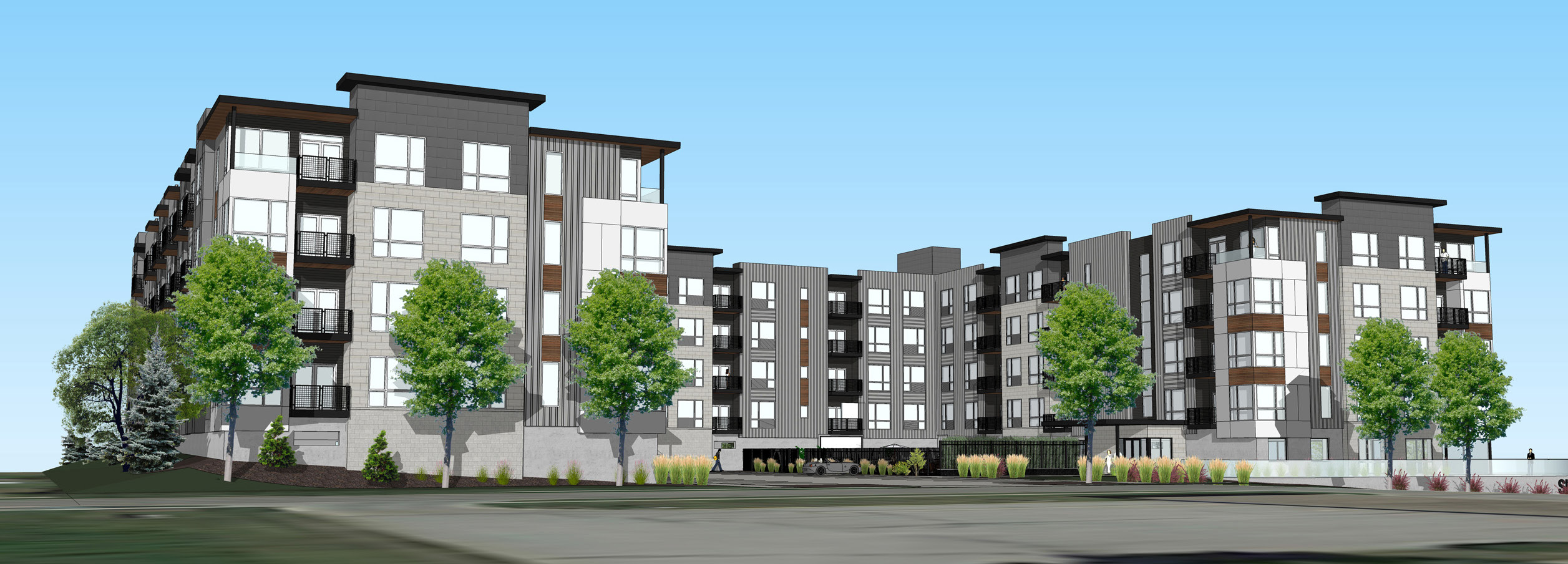 Rendering of new apartments at Cotner site in Lincoln, NE to be developed by CIP
