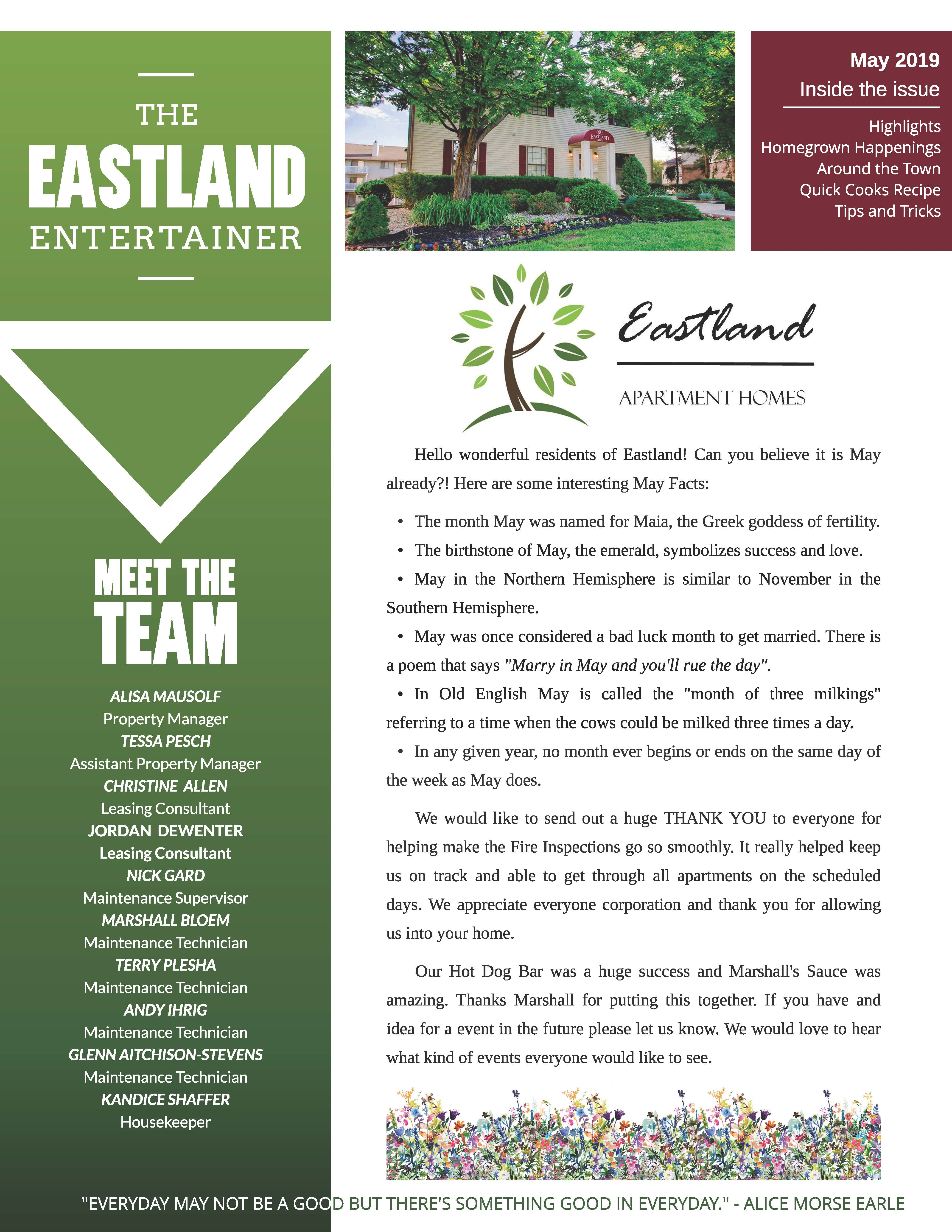 May 2019 Newsletter The Eastland Entertainer