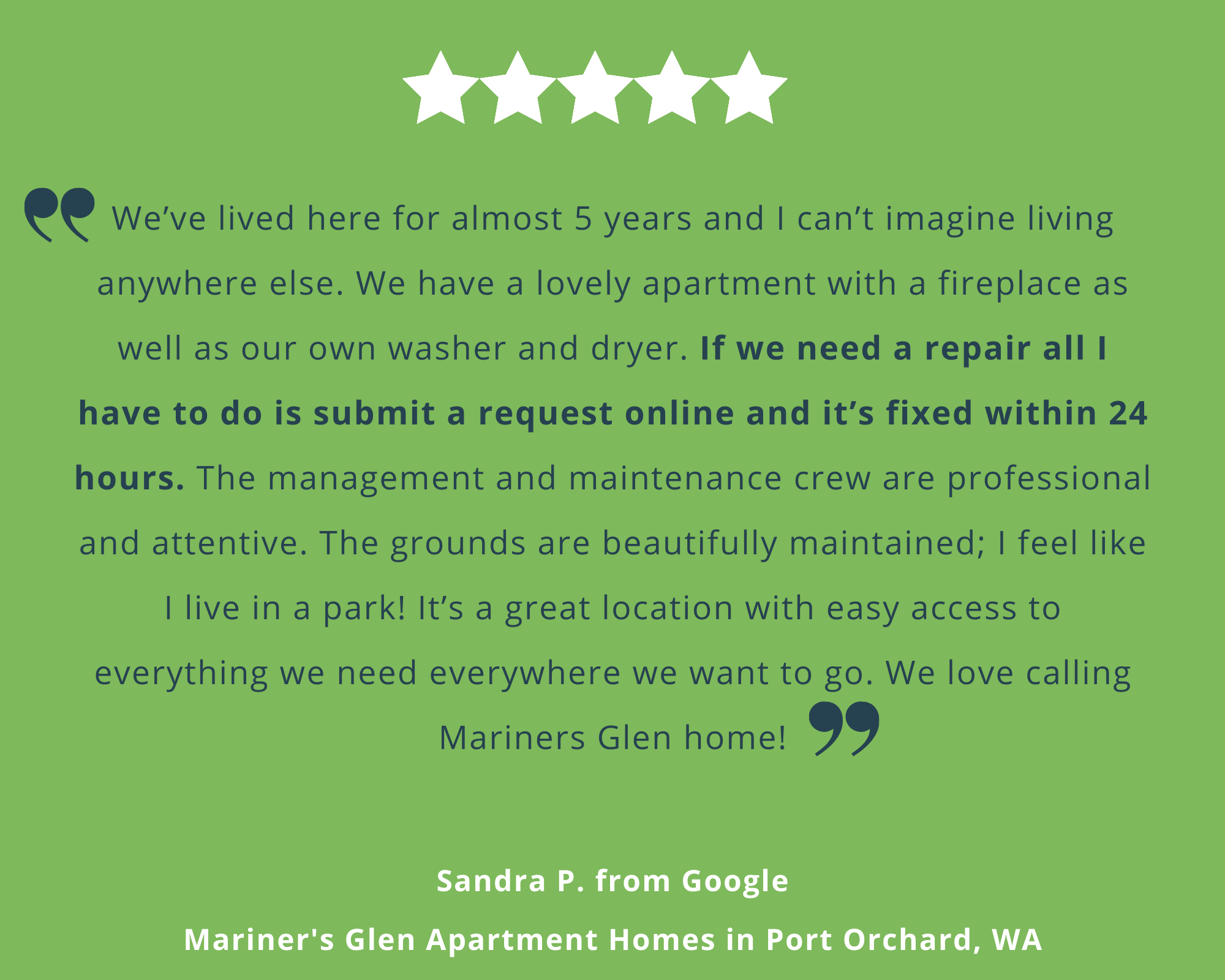 Resident Review from Mariners Glen Apartments in Port Orchard, WA