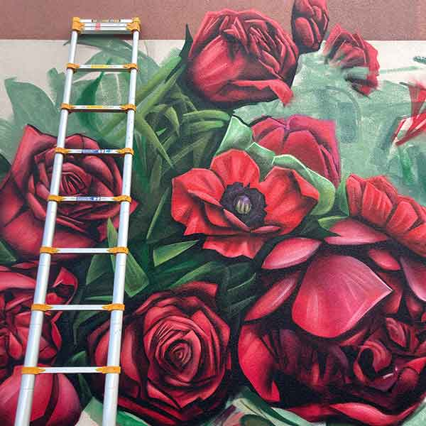 The image of the local mural artist, Ryan Smeeton