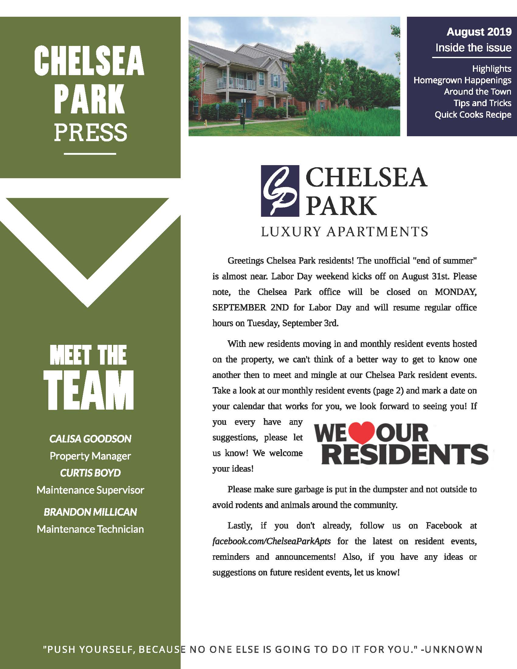 The Chelsea Park Apartments Community