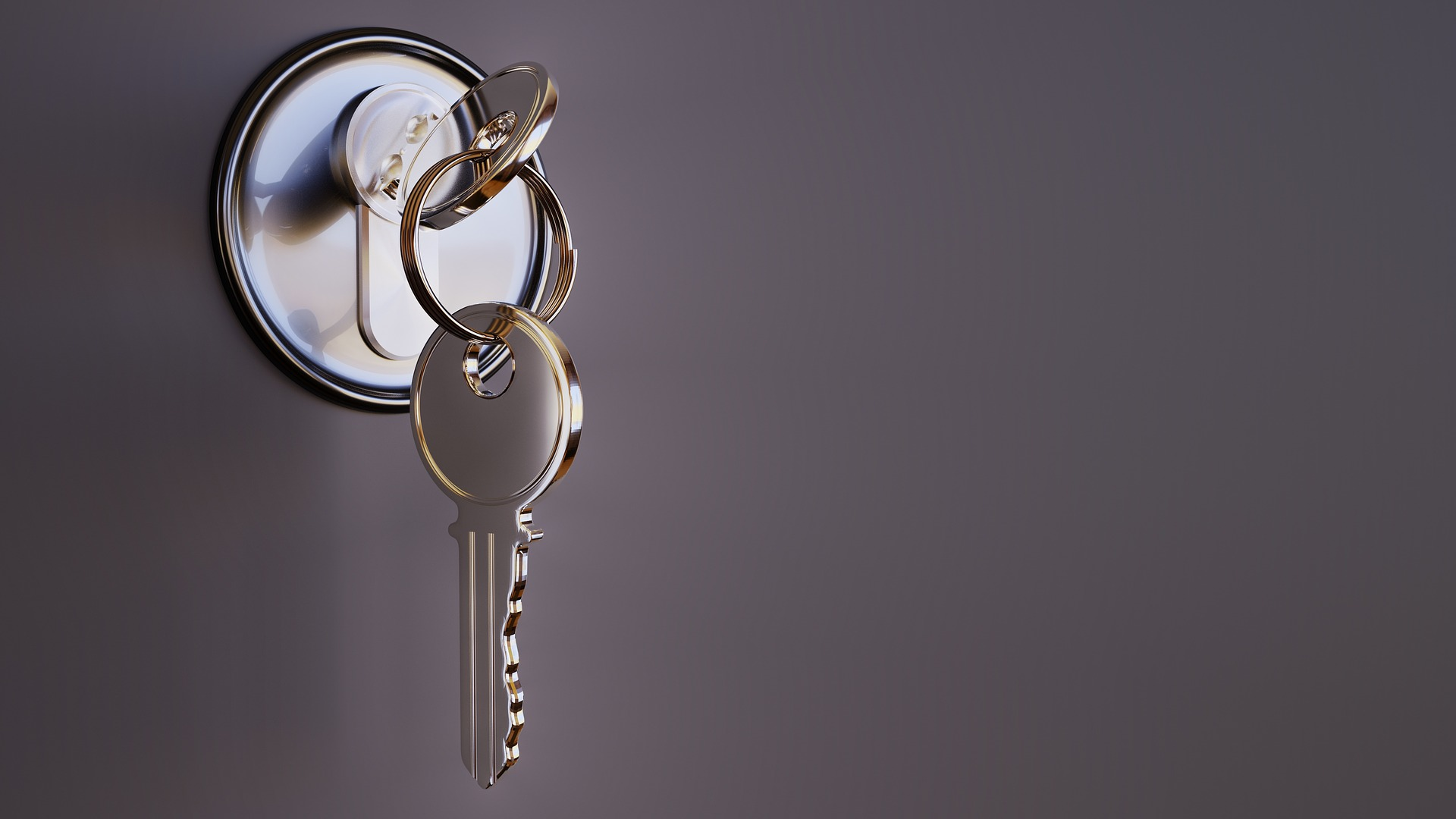 Shiny Key in an Apartment Door