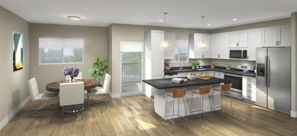 Contemporary design scheme with white cabinetry and granite countertops