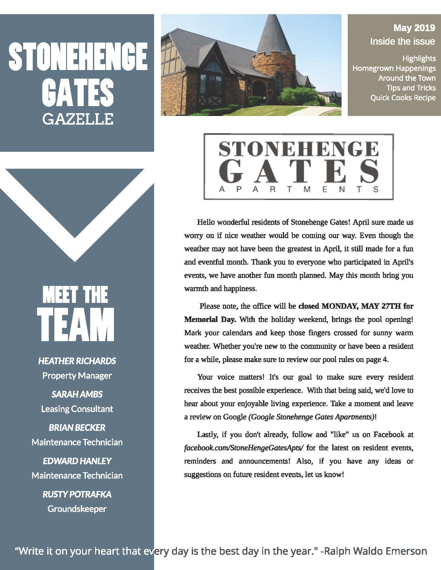 May 2019 Newsletter Stonehenge Gates Gazelle