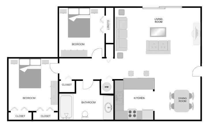Imperial Dogwood 2 bedroom 1 bathroom floor plan at Pecan Acres