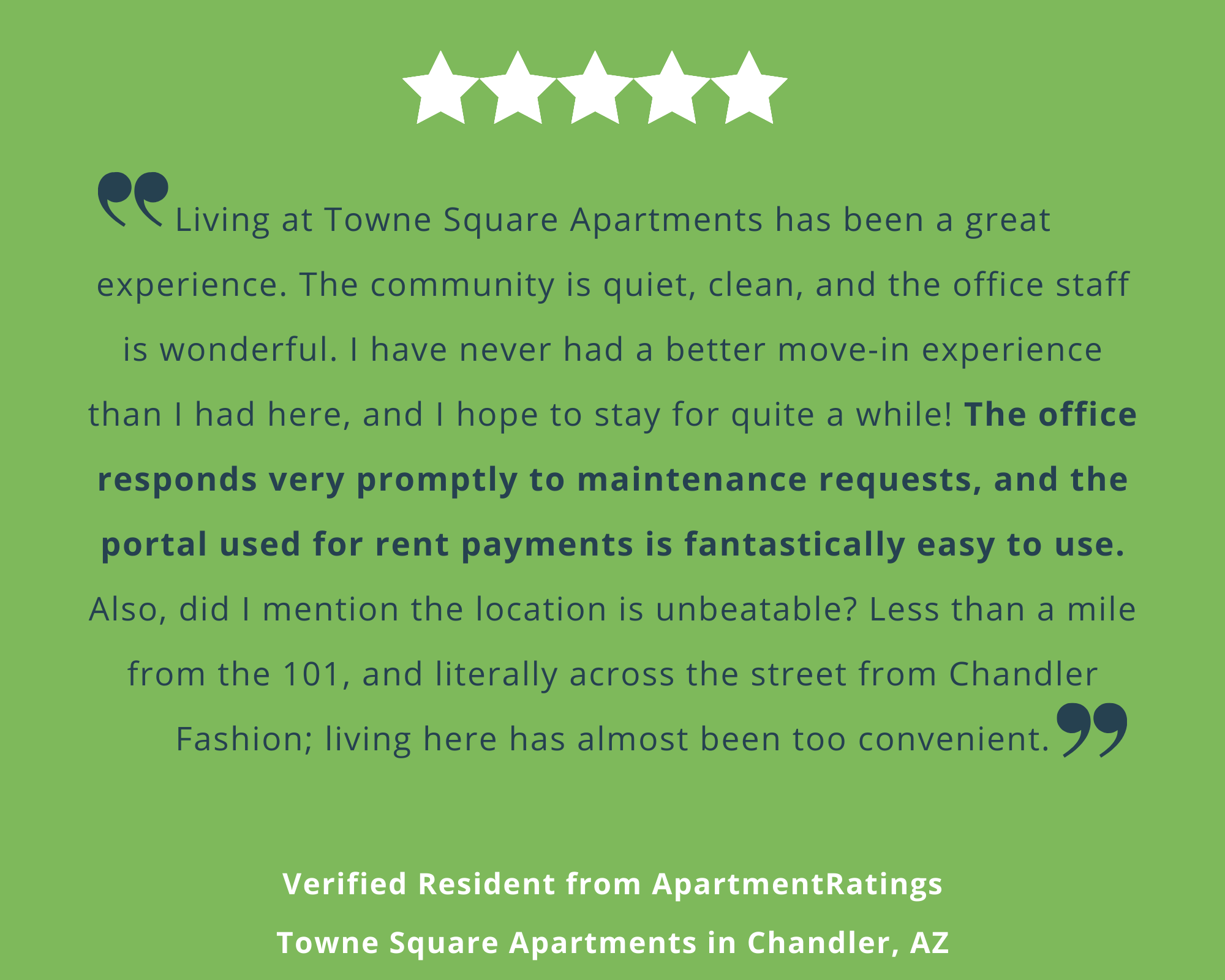 Resident Review from Town Square Apartments in Chandler, AZ