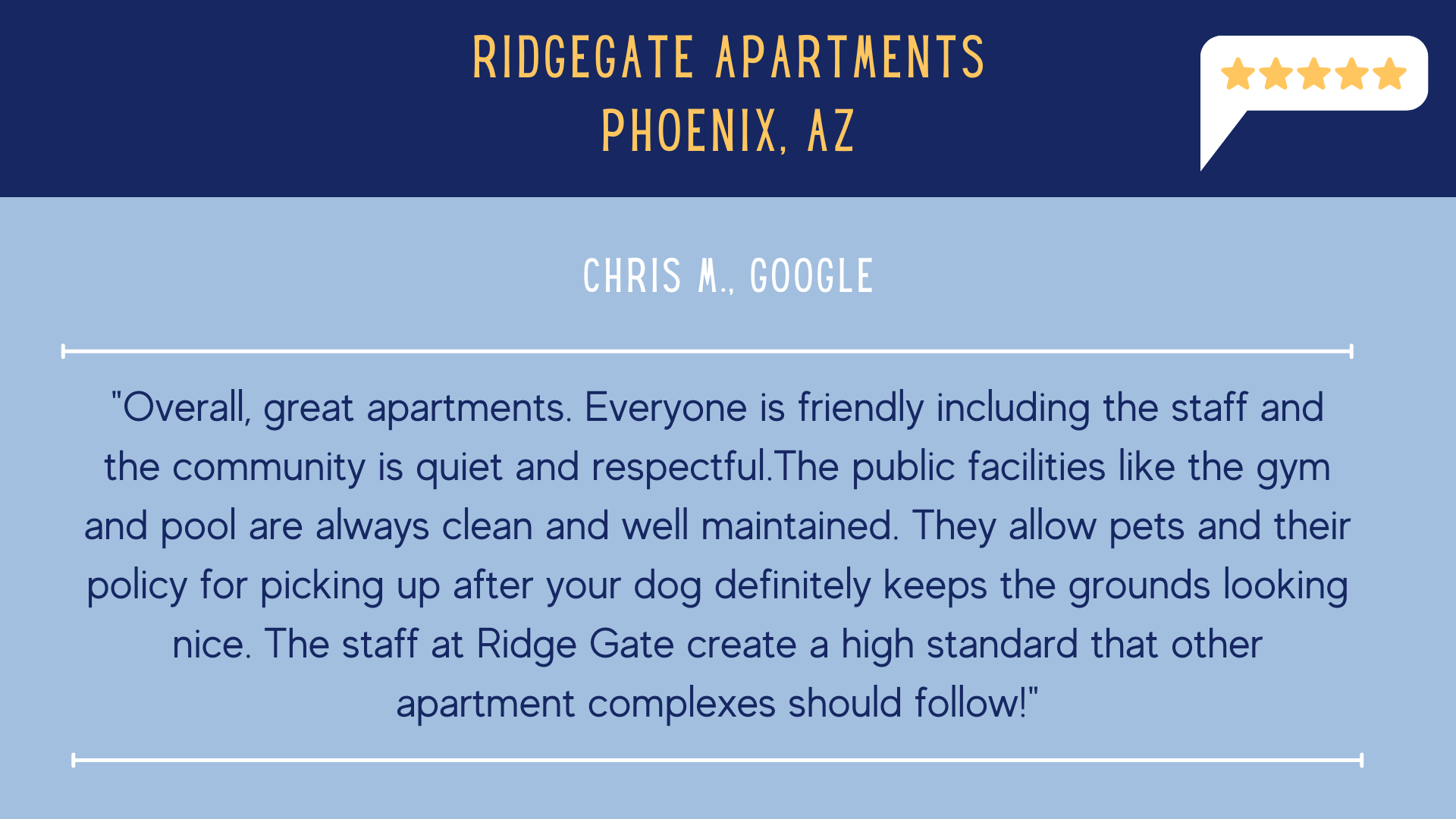 RidgeGate Apartments 5 Star Review