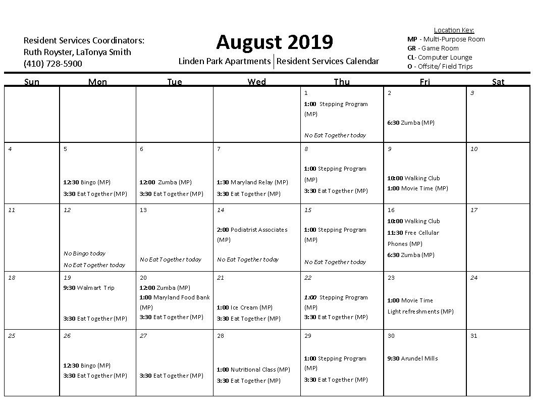 Linden Park Apartments August 2019 Calendar