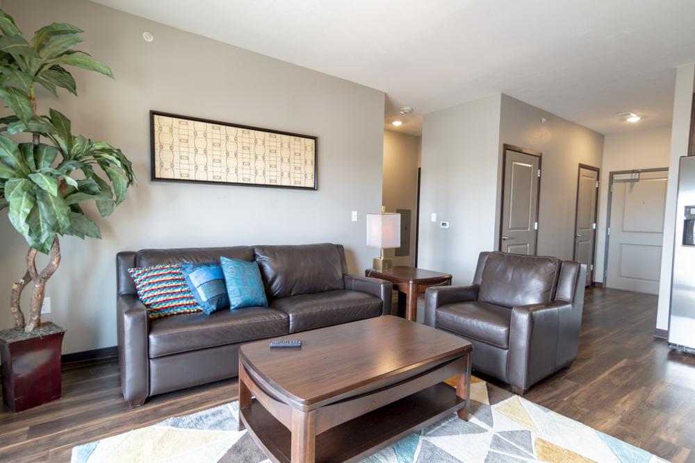 Furnished living room at 360 at Jordan West in West Des Moines IA 50266