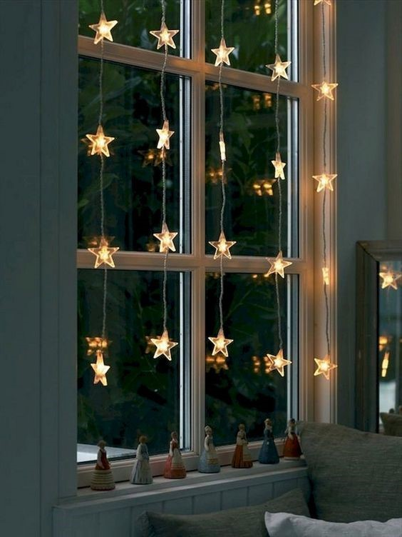 star lights hanging in a window