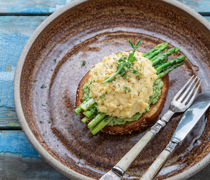 try some scrambled eggs and asparagus