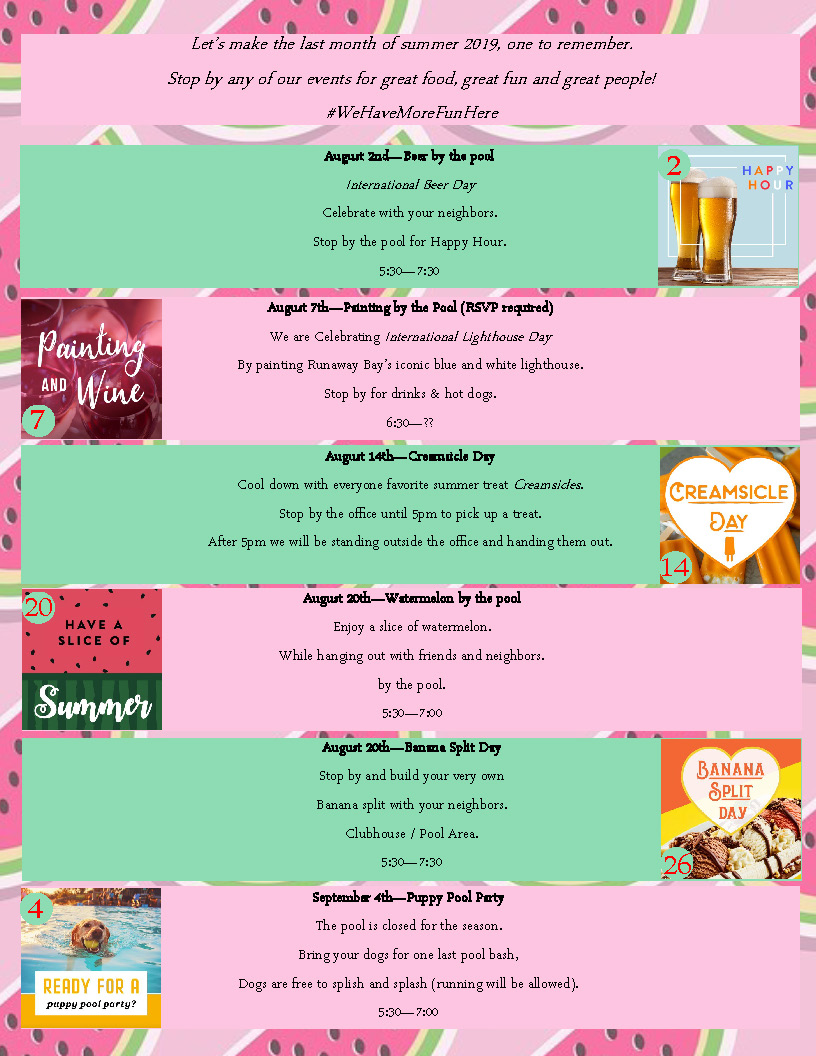 Runaway Bay Apartments August 2019 Event Calendar Page 2