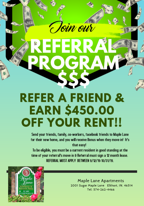 free rent referral special