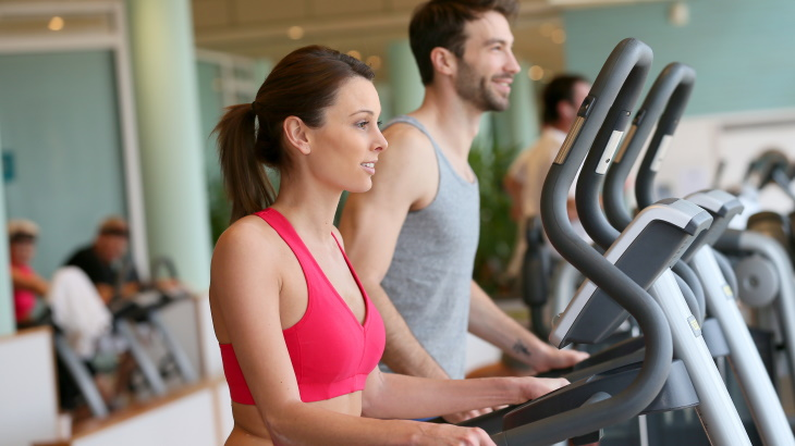 Exercising at Luxury Apartment Fitness Center