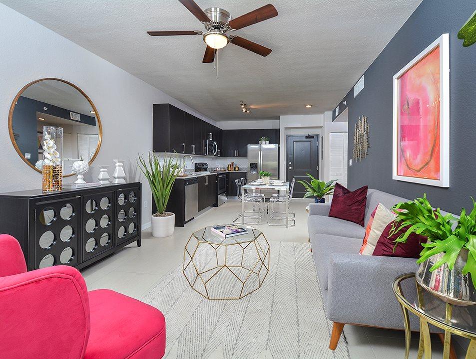District West Gables living room