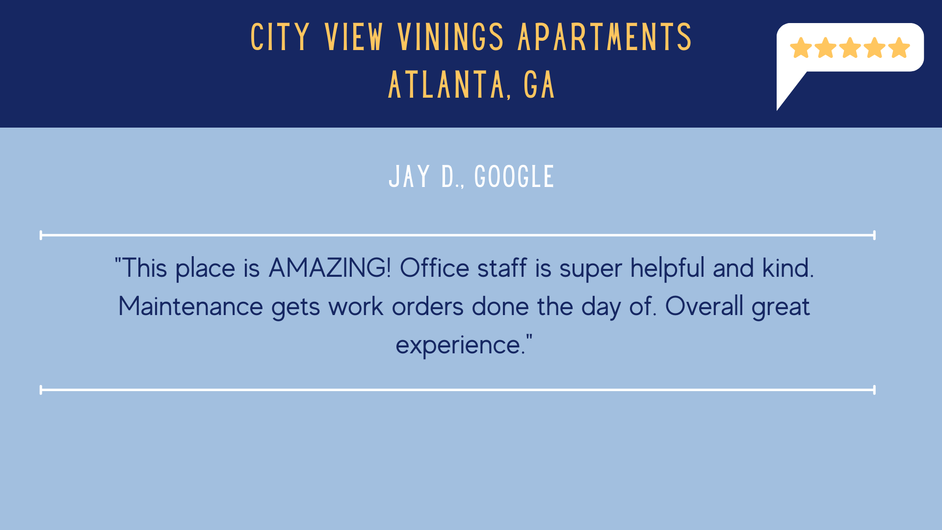 City View Vinings 5 Star Review