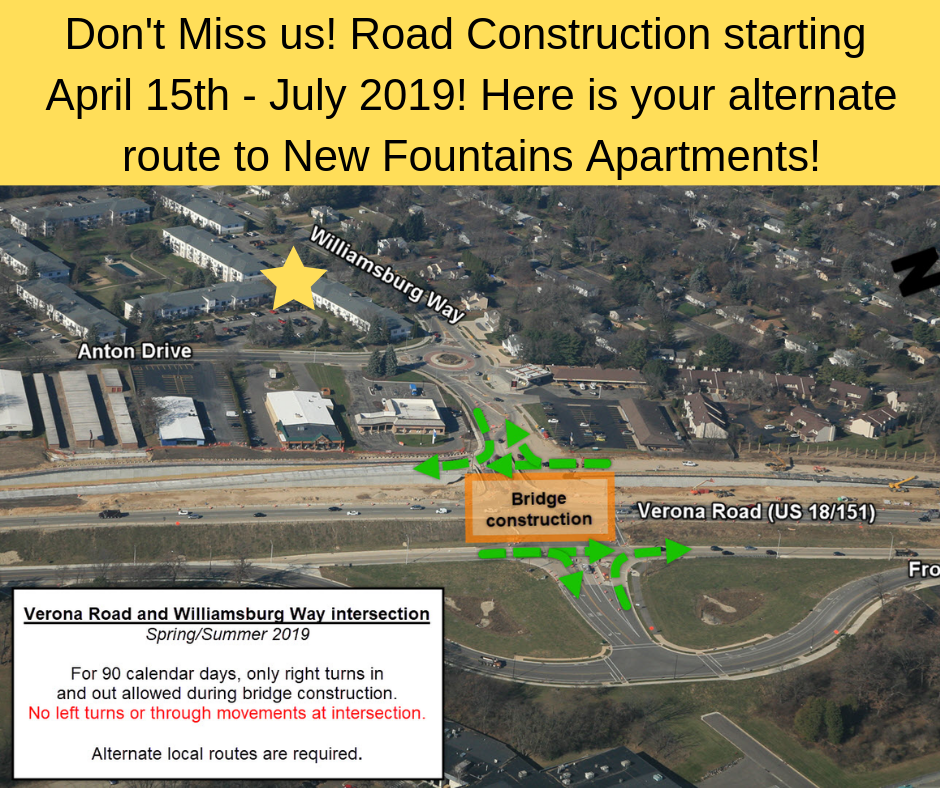 New Fountians Apartments in Fitchburg, WI re-route information