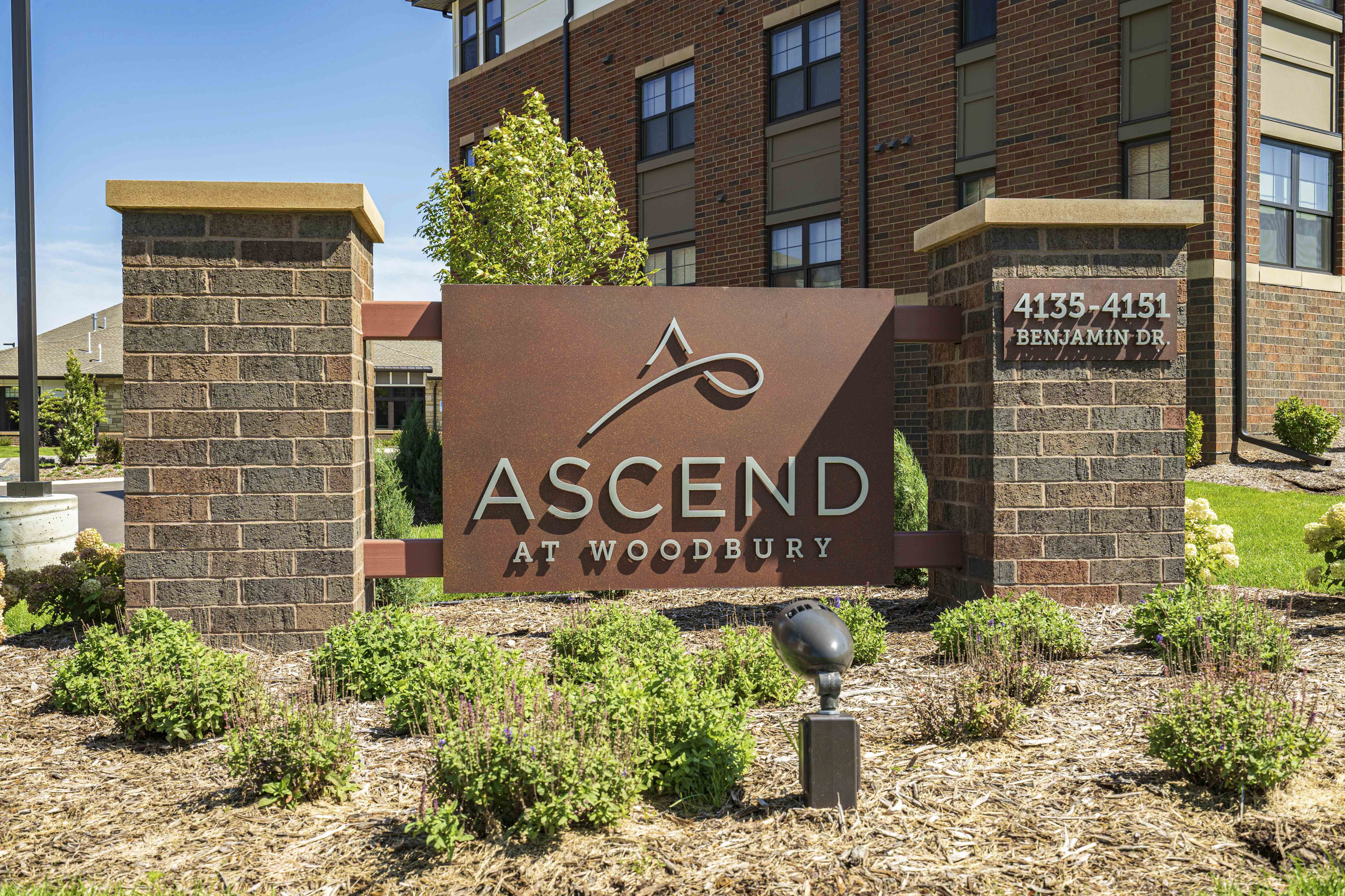 Monument sign at Ascend at Woodbury, a luxury apartment community by CIP in Woodbury, Minnesota