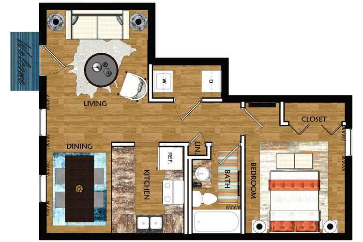 1 bedroom, 1 bathroom birmingham floor plan at The Mills at 601