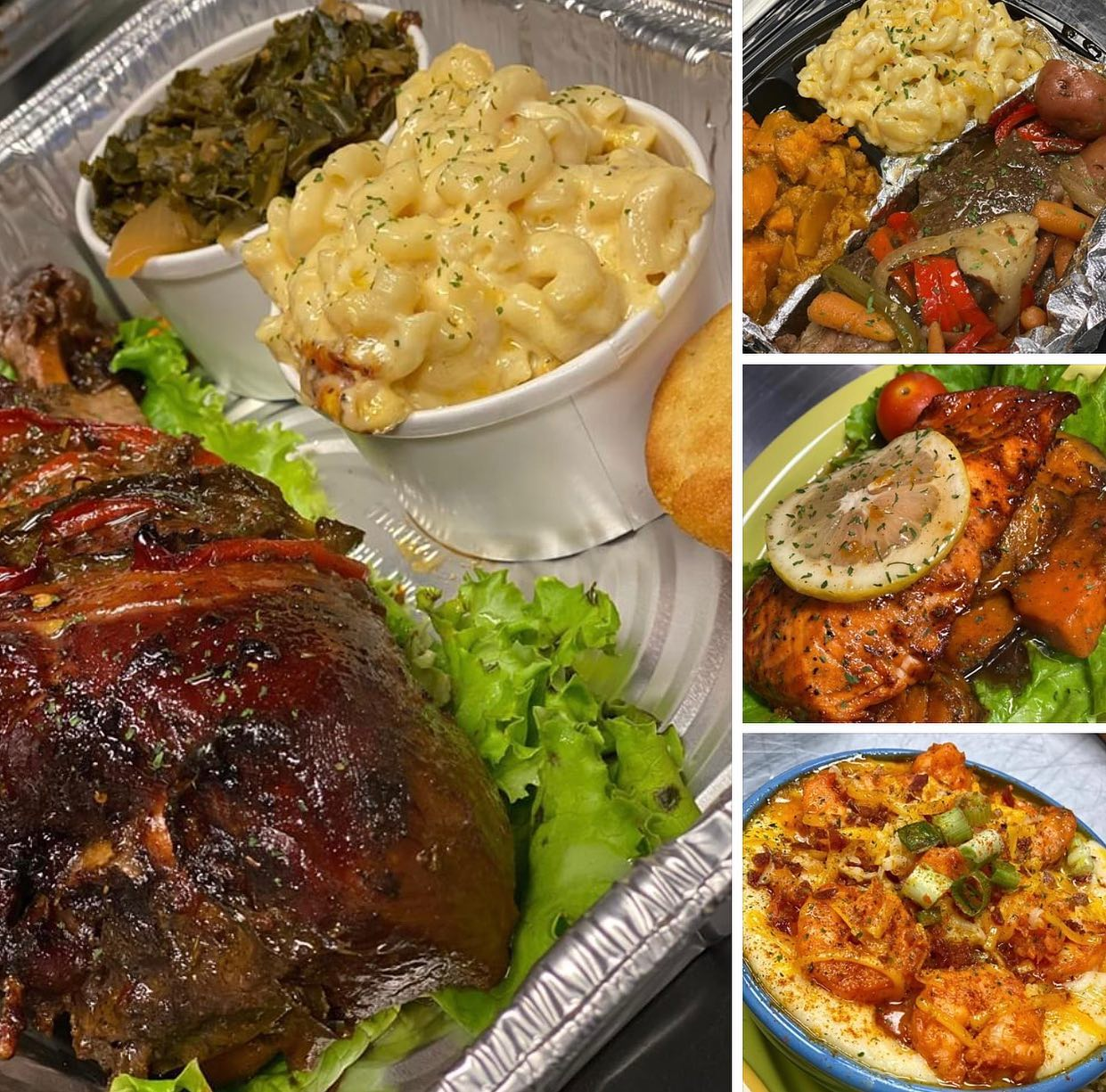 A compilation of some food from Chicago Food on the Run: Turkey legs, beef short ribs, sweet potatoes, glazed salmon, shrimp and grits