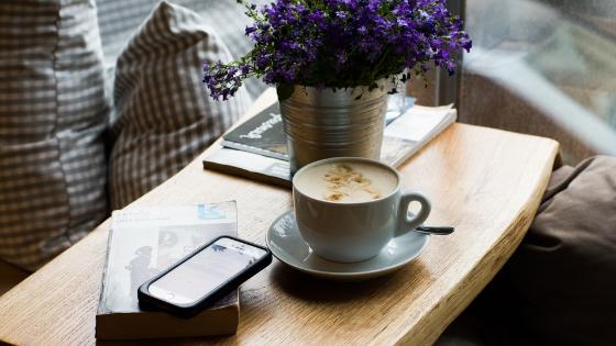 flowers on coffee table