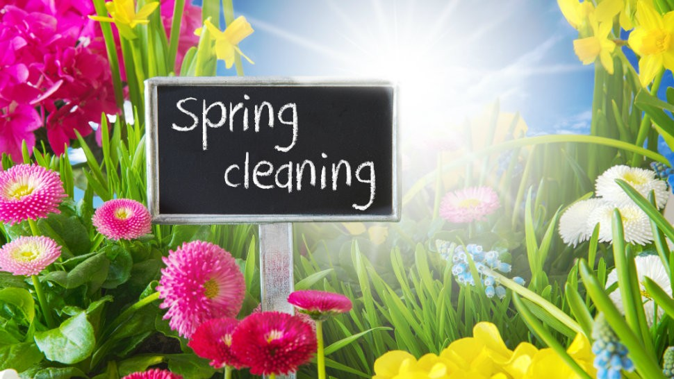 Spring Cleaning Sign and Flowers