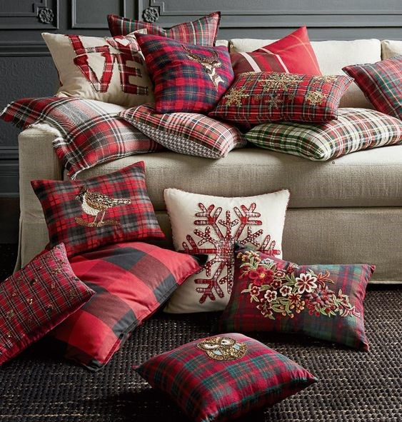 holiday pillows on a couch