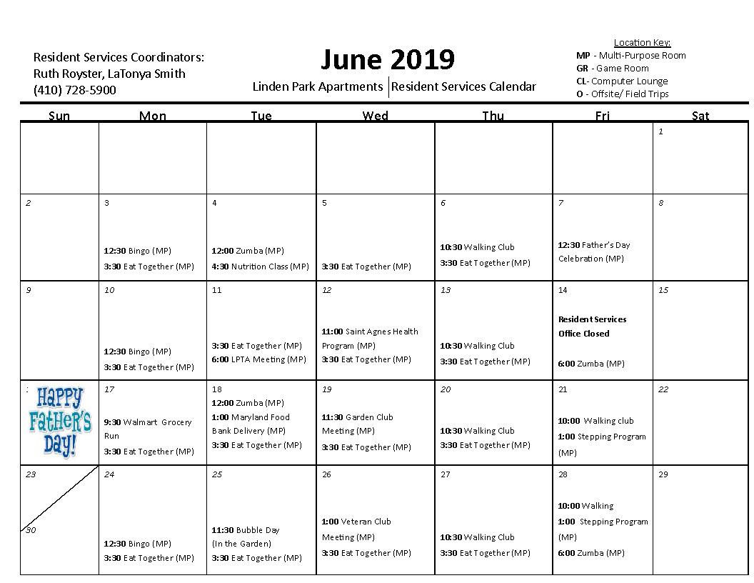 Linden Park June Activity Calendar