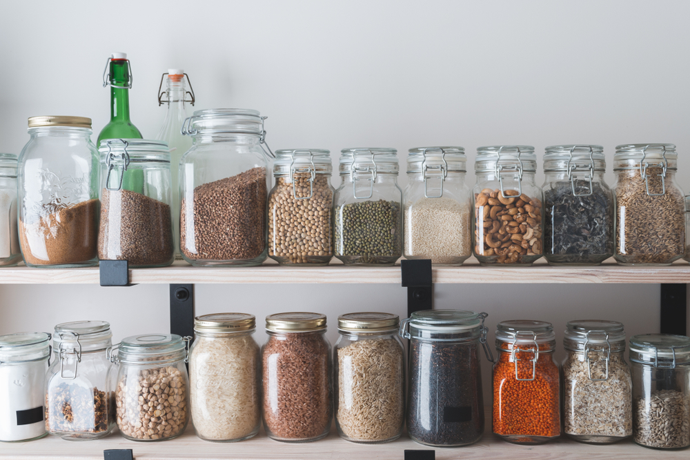 A zero-waste kitchen is possible when utilizing reusable jars and materials.